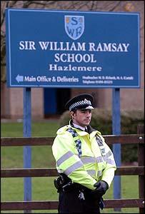 Police kept watch outside the school