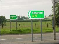 A77 road sign