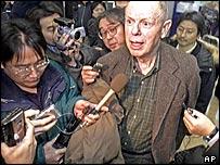 John Lewis, head of American delegation, on arrival in Beijing