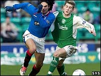 Mikel Arteta goes past Kevin Thomson