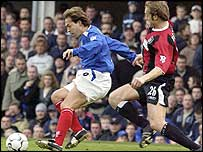 Eyal Berkovic is challenged on his Portsmouth debut