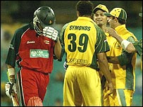 Sean Ervine strolls back to the pavilion