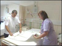 Bed changed in hospital ward