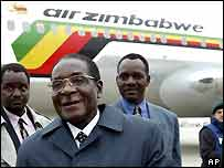 Robert Mugabe and Air Zimbabwe plane
