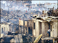 Scene after the fire in Baseco shanty town