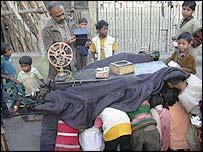 Cinema cart in Calcutta