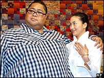 Former sumo wrestler Konishiki, left, and his wife, Chie Iijima