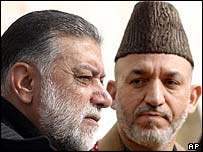 Pakistani PM Zafarullah Khan Jamali and Afghan President Hamid Karzai in Kabul