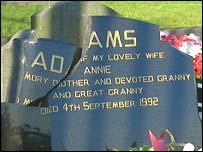 The vandalised grave of Gerry Adams' parents