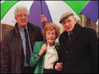 Campaigning for pensioners' rights with Rodney Bickerstaffe and Barbara Castle