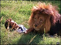 A man identified as Lucas Tomas, 22, with lion Quique at Buenos Aires zoo
