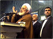 Iranian parliament speaker Mehdi Karrubi delivers a speech in support of reformist lawmakers