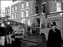 Emergency services at the scene in 1981