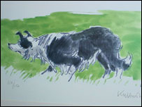 Mot the Sheepdog by Sir Kyffin Williams