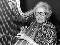 Sidonie Goossens playing the harp