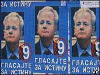Election posters showing former Serbian president Slobodan Milosevic