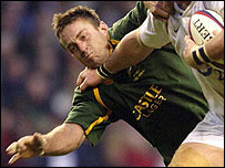 Corne Krige in action for South Africa against England