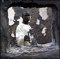 Burnt house of the district head in Yobe State