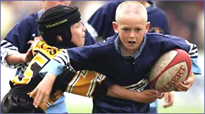 Kids playing rugby league