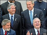The heads of Honduras, the US, Canada and Brazil (clockwise) in Mexico in January 2004
