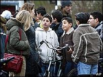 Estudiantes en la escuela Stevincollege en La Haya