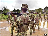 Tamil rebels at their Kilinochchi stronghold
