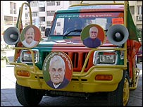 Vehicle adorned with BJP portraits
