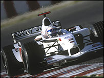 Anthony Davidson test drives the BAR Honda Formula one car