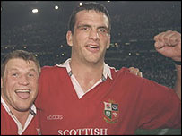 Martin Johnson celebrates the Lions' second Test win in South Africa with South Africa
