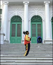 Razia Shabnam training on the library steps