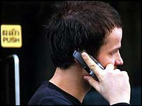 Man using a mobile telephone