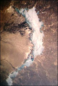 Balkhash lake in Kazakhstan, picture by Nasa