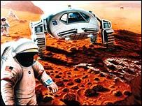 Dibujo de la NASA sobre la exploración futura de Marte.