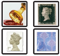 From left to right: A wax stamp, Penny Black,  recent postage stamp, digital stamp