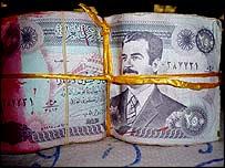 Note bearing Saddam Hussein's image