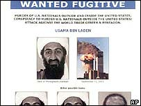 Osama bin Laden on wanted poster, AP