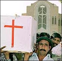 File photo of the funeral of a victim of an attack in 2002