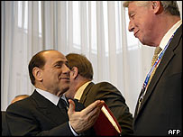 Silvio Berlusconi with former Dutch prime minister Wim Kok