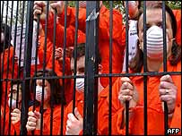 Protesters against Guantanamo detentions during President Bush's visit to London, 20 November