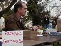 Parking registration desk