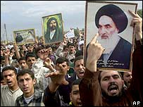 Protesters in Basra, 15 January 2004