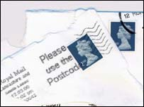 Mail with stamps on