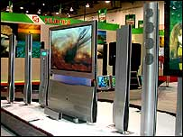 TV displays at a electronics show