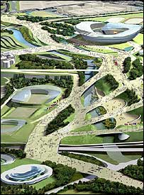 An artist's impression of the proposed Olympic Park in east London