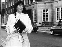 Kathy McAvoy leaving court in 1980s