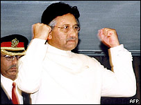 Pakistan's President Pervez Musharraf gestures before his address to joint session of Parliament