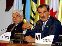 Vicente Fox, presidente de México, en la Cumbre de Monterrey.