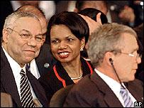 Powell, Rice y Bush en la Cumbre de Monterrey.