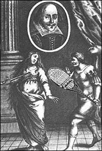 Ilustraci�n de la edici�n de 1655 de El rapto de Lucrecia. La raqueta no est� en el original.