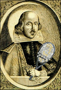 Retrato de William Shakespeare, 1640. El original no tiene raqueta.